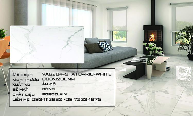Gạch Nhập Khẩu Ấn Độ VA6204 600X1200 STATUARIO WHITE