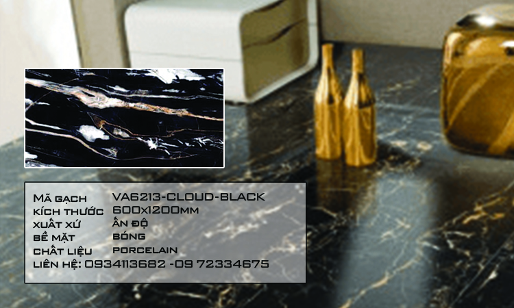Gạch Nhập Khẩu Ấn Độ VA6213 600X1200 CLOUD BLACK